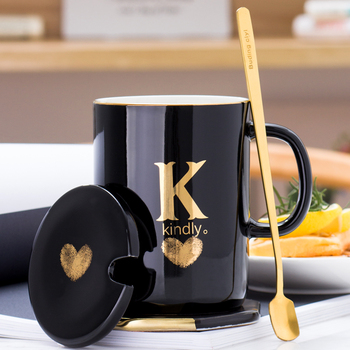 400ml Creative Gold Finger Printing Black Ceramic Coffee Mug