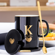 SPSCO 400ml Creative Gold Finger Printing Black Ceramic Coffee Mug Tea Cup With Handle as Gift with Lid and Spoon