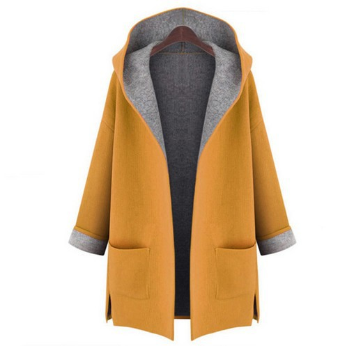 2018 Loose Slimming Solid Long Sleeve Casual Coat Pocket Hooded Woollen Large Size Wide-waisted Open Stitch Woman Wear Trench