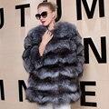 Природный Silver Fox Шубы Из Натурального Меха Пальто Для Женщин толстые Теплые Модные Роскошные Женщины Шуба Натуральный Мех пальто