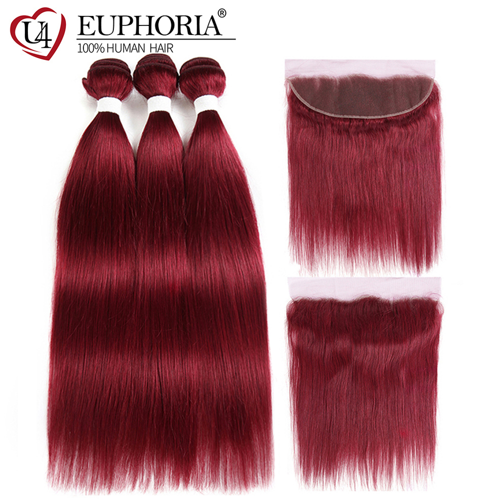 99J Burgundy Straight Human Hair 3 Bundles With Frontal 13x4 Euphoria Brazilian Red Colored Remy Bundle