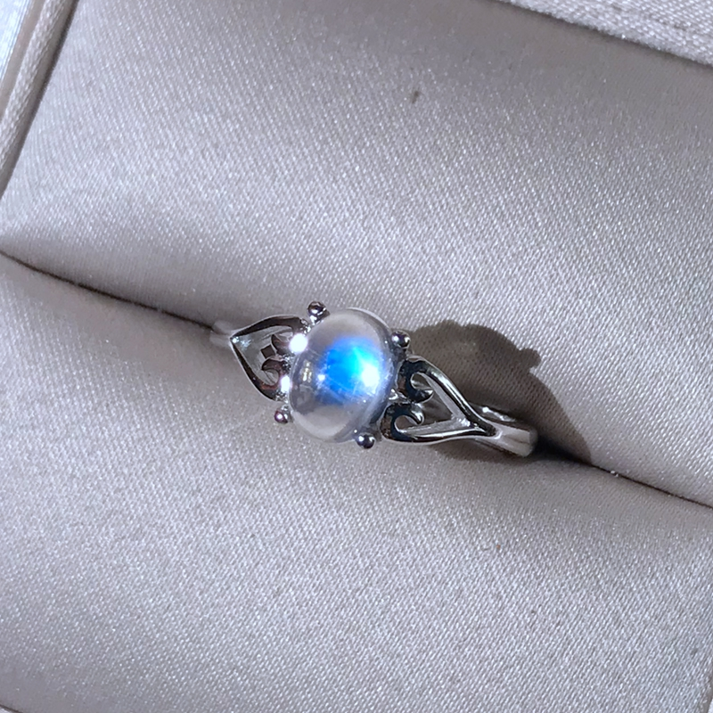 Moonstone Ring 925 silver crystal clean blue light intense simple lady ring