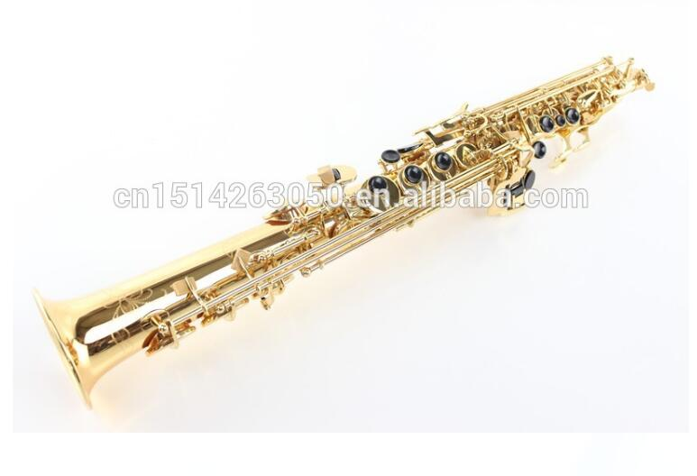 2017 New B Flat Soprano Saxophone Gold Lacquer Musical Brass Instrument SS-601 Soprano Sax Mouthpiece tenor saxophone free shipping selmer instrument saxophone wire drawing bronze copper 54 professional b mouthpiece sax saxophone