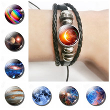 Solar Eclipse Space Galaxy Black Leather Bracelet Glass Dome Earth Solar Eclipse Outer Space Sun Multi-layered Braided Bracelets(China)