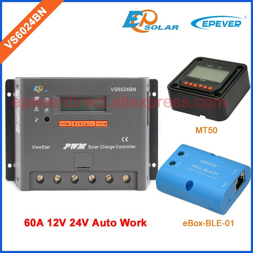 60A VS6024BN 12 V 24 V chargeur de batterie auto travail EPEVER EPsolar panneaux solaires contrôleur de système bluetooth fonction boîte téléphone APP