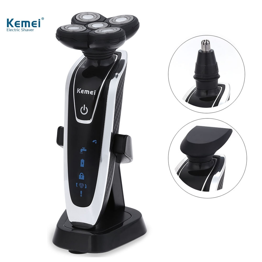 Kemei Electric Shavers 5D Floating Heads Washable Beard Body Use with Nose Trimmer Safety Professional Razor for Man Face Care