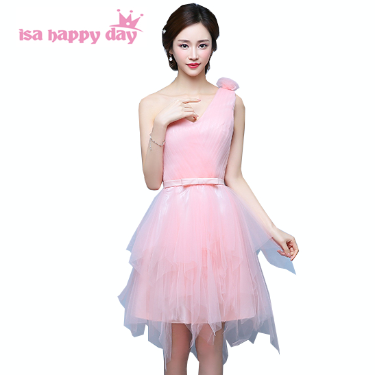 Special Occasion Semi Formal Sexy One Shoulder Pink Dress Short