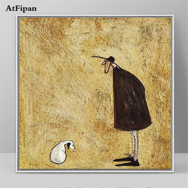 AtFipan Unframed Cartoon Animal Giraffe Canvas Painting Art Print ...