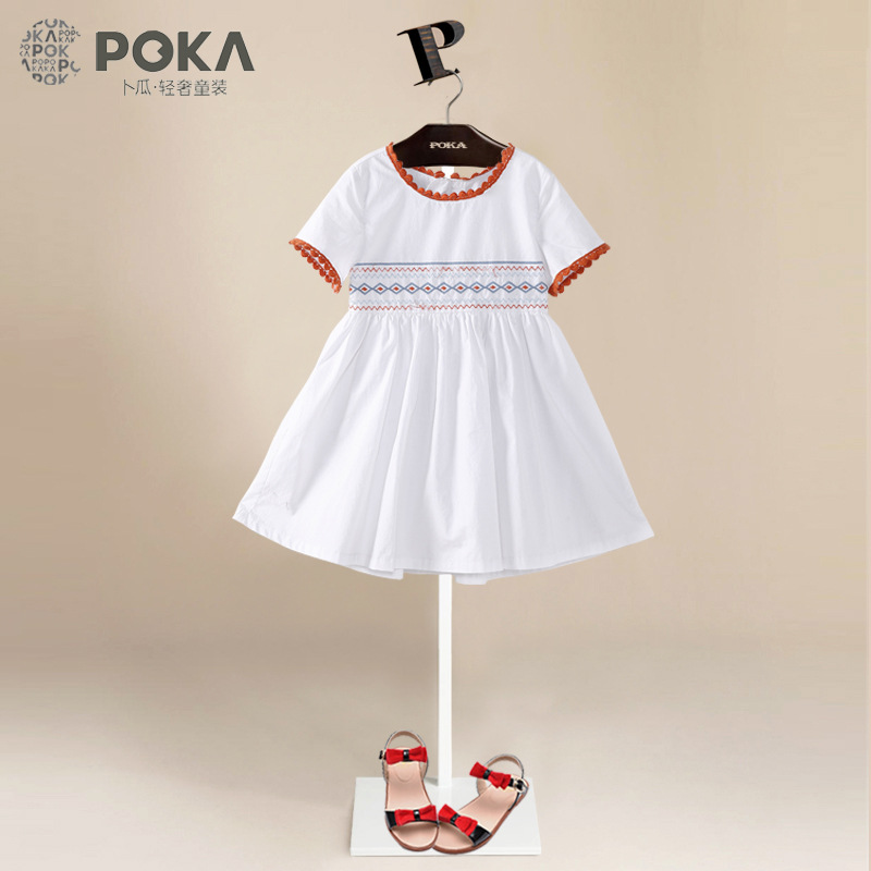 POKA 2017 Summer New Fashion Embroidered Dresses for Girls, 100% Cotton Short Sleeve Girls Clothes, Pink White Girl Dress 125khz em4100 door entry access blank white proximity rfid clamshell thick card thickness 1 9mm pack of 10