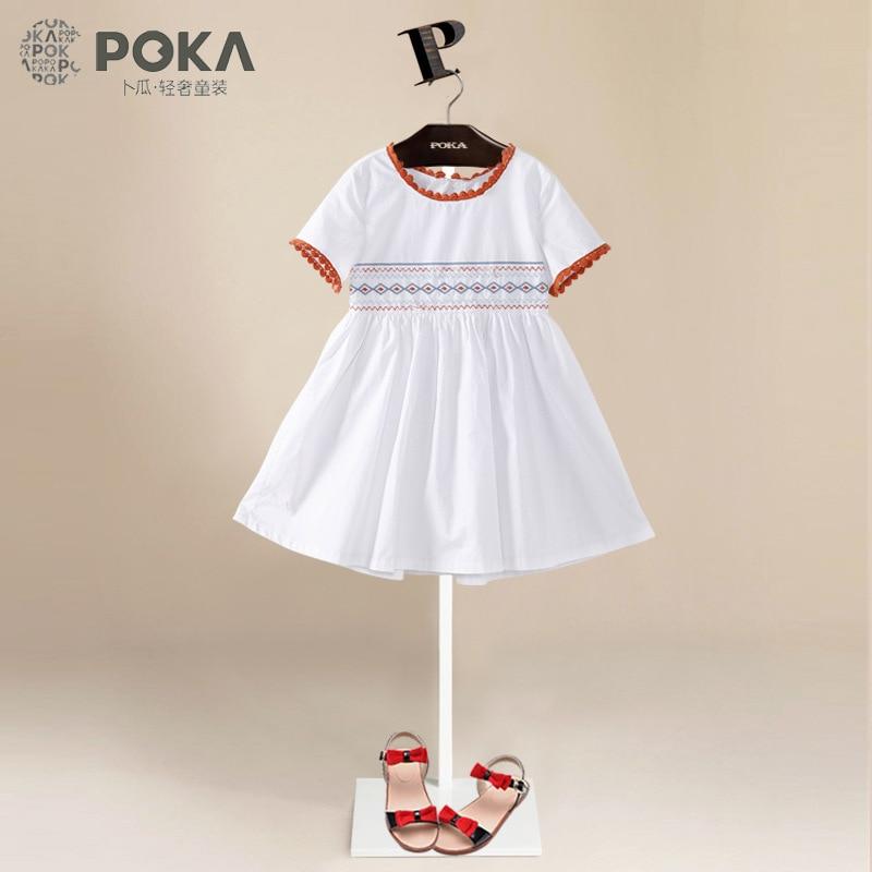 POKA 2017 Summer New Fashion Embroidered Dresses for Girls, 100% Cotton Short Sleeve Girls Clothes, Pink White Girl Dress poka white 100