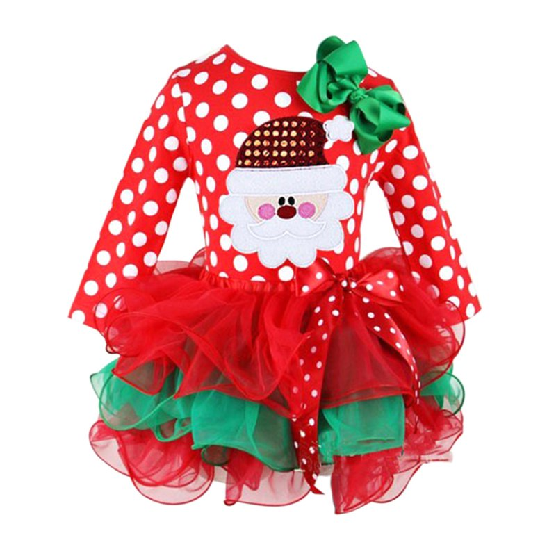 algodn rojo de manga larga vestido de partido de la muchacha de la navidad de