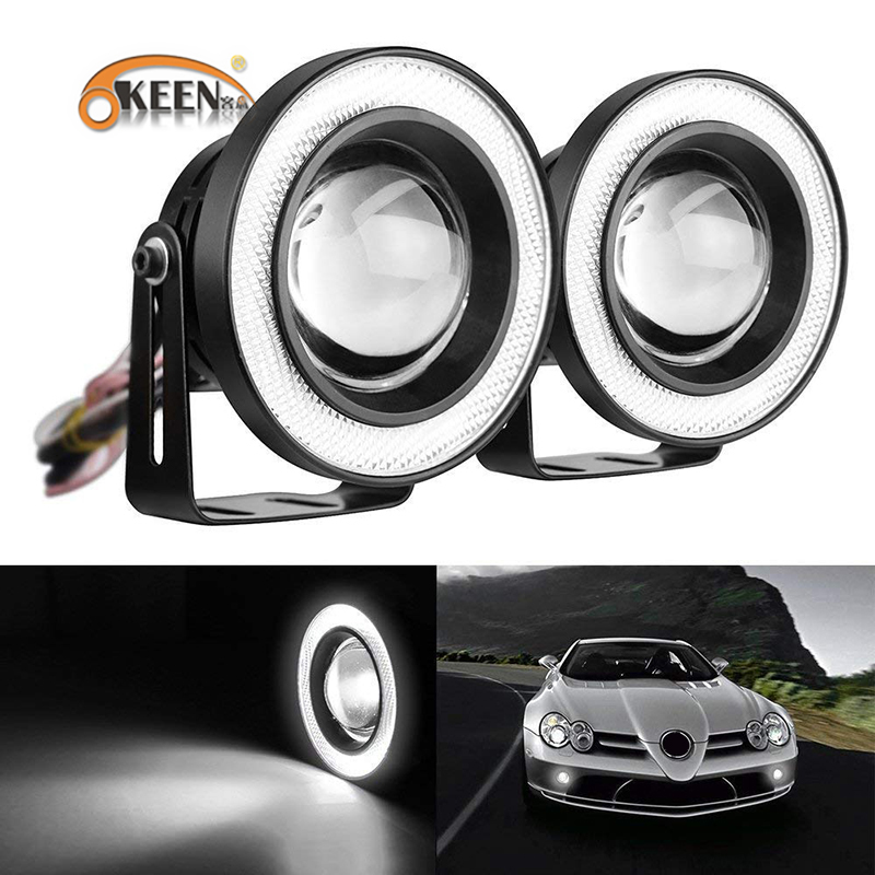 OKEEN 2x White Red Ice Blue 2.5/3/3.5 inch COB Angel Eyes Fog Lights Led Car Headlight Lamp DRL Universal Daytime Running Light 3 5 inch car universal 1200lm cob led angel eyes fog lamp w lens auto drl driving light daytime running lights white headlight