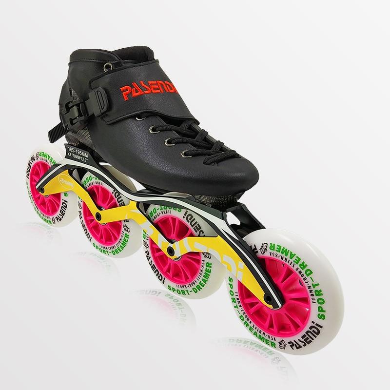 PASENDI professionnel en Fiber de carbone chaussures de patinage de vitesse 4 roues 4x90/100/110mm femmes chaussures de patinage à roulettes hommes enfants chaussure