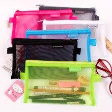 1 шт прозрачный сетчатый чехол для ручки на молнии, чехол для карандаша, посылка для хранения для девочек, корейские канцелярские принадлежности, школьные принадлежности