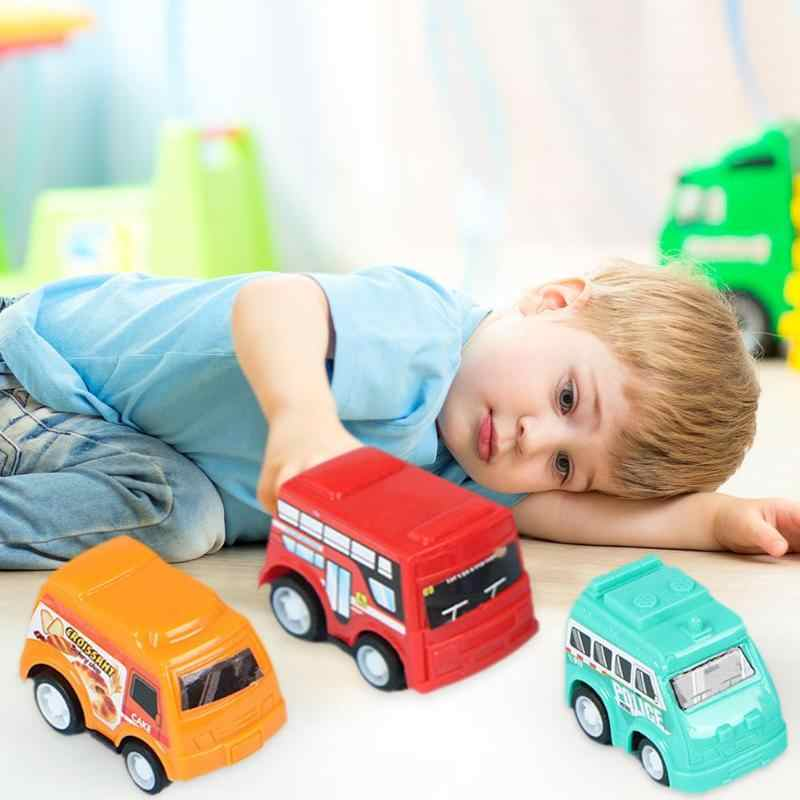 6 pcs Engraçado Puxar Para Trás Modelo de Carro Brinquedos De Plástico Fundido Mini Carros de Incêndio Do Veículo Caminhão Táxi Boy Toys Presente Das Crianças brinquedos