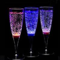 6 قطع 150 ملليلتر led تضيء شرب كأس النبيذ الاكريليك كولا بهلوان تضيء الزجاج خمرة كأس للحزب/الحانات a45