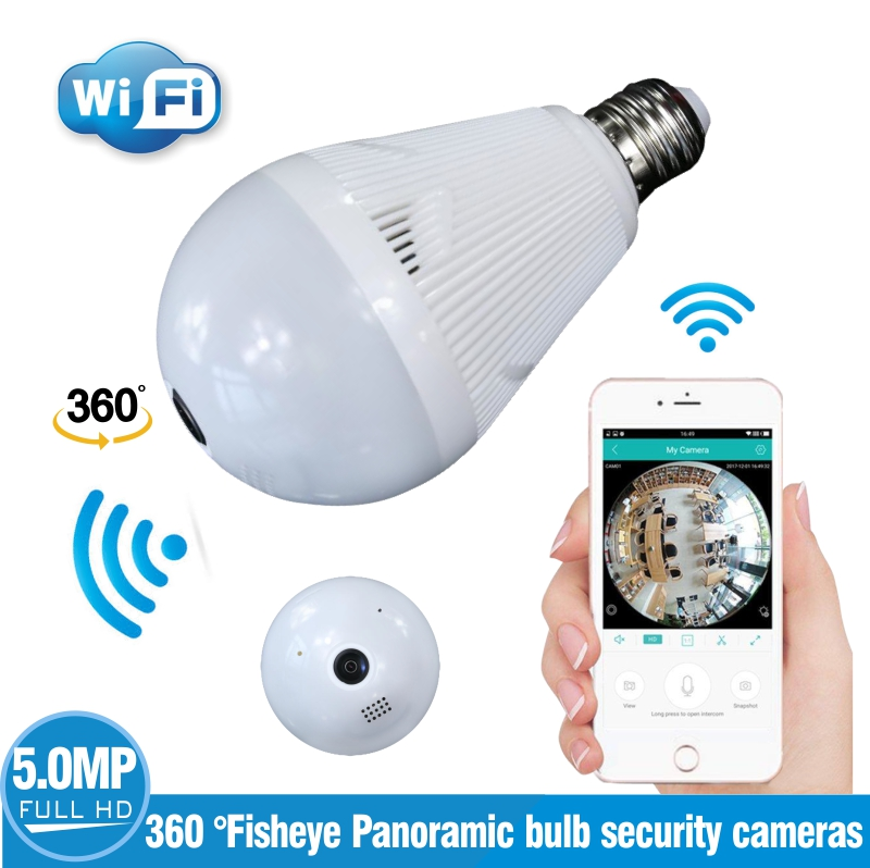 LED Bulb Light 360 Degrees 720P WiFi Panoramic Camera Smart Home LED Lamp Wireless IP Camera 3D VR Fisheye Camera House Security new ip camera network camera vr 360 degrees wifi wireless 3d fisheye panoramic light camera network light bulb home security