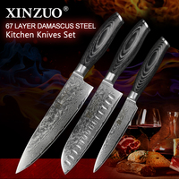 3 Pcs Kitchen Knives Set 73 Layers Japanese Damascus Kitchen Knife Set VG10 Chef Knife Chef