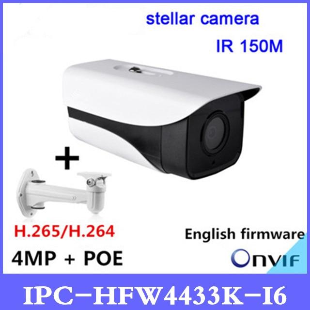 DH 4MP ip camera IPC-HFW4433K-I6 Starlight Camera support POE IP67 IR150M DH-IPC-HFW4433K-I6 cctv camera with bracket dtv i6 70