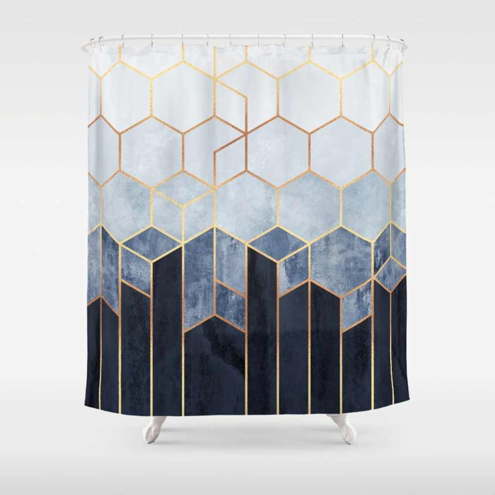 Soft Blue Hexagons Shower Curtain Decorative Waterproof Polyester Fabric 8 Sizes Shower Curtain 12 Hooks