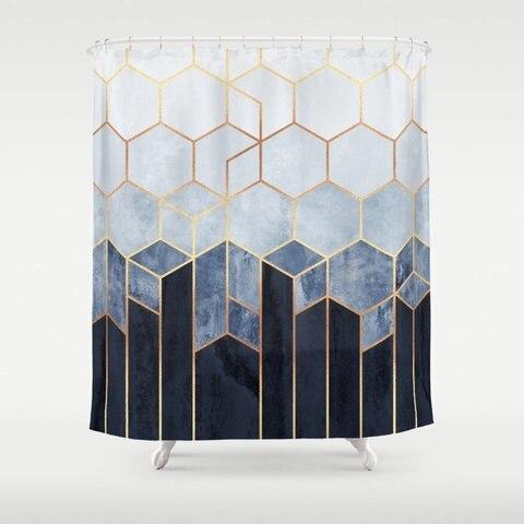 Tecido de Poliéster Cortina de Chuveiro à Prova Cortina de Chuveiro Macio Azul Hexágonos Água Decorativos 12 8 Tamanhos Ganchos d'