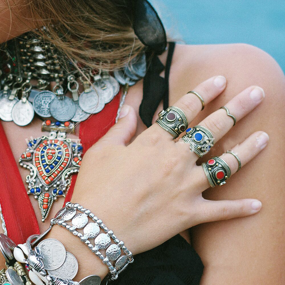 retro Style Bracelets New Women Tibetan Tibet Silver Totem Bangle Cuff Bracelet Ethnic Jewelry BT99