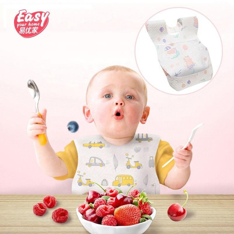 20Pcs/lot Disposable Waterproof Non-Woven Baby Bibs Cartoon Feeding Saliva Apron Paper