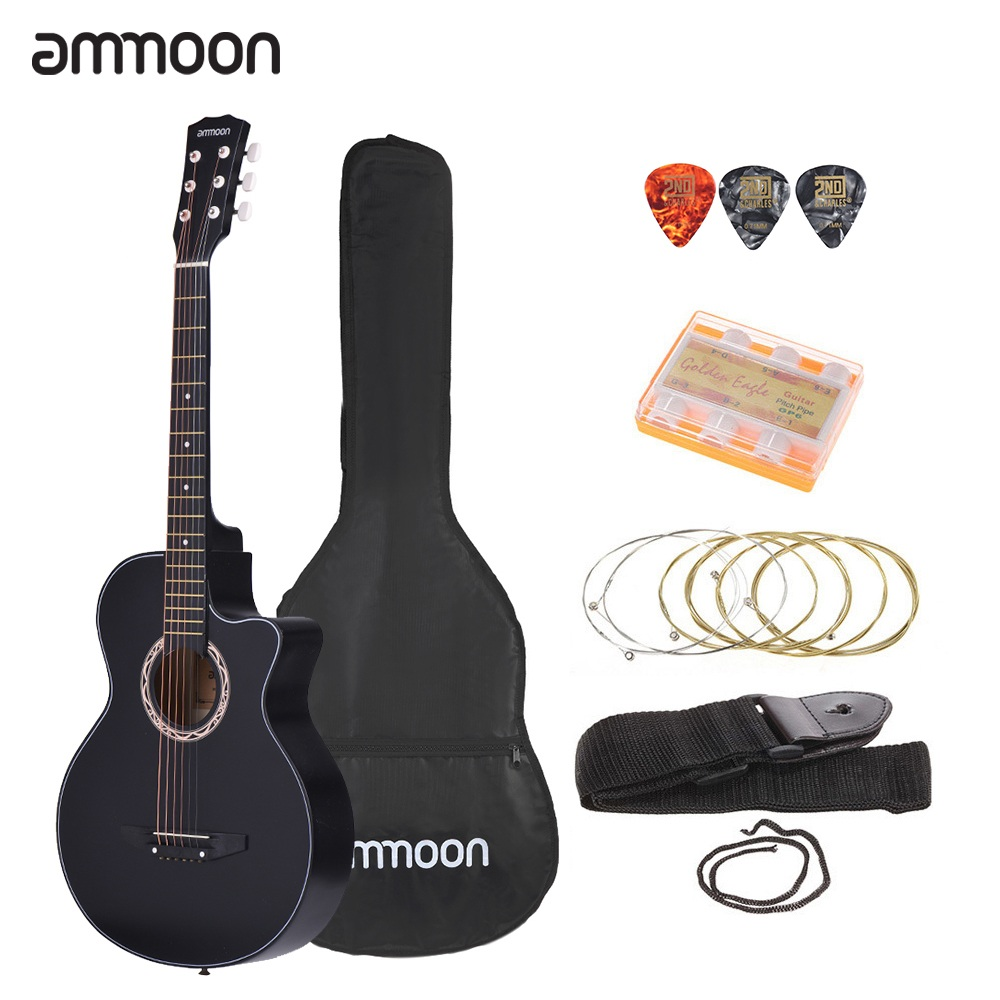 ammoon 38 acoustic guitar kit 6 string cutaway folk acoustic guitar with bag strap string tuner. Black Bedroom Furniture Sets. Home Design Ideas