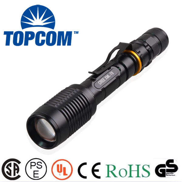 [Free ship] New Powerful Zoom 5000 lumen rechargeable 18650 flashlight Cree XM-L T6 Big LED Tactical Police Flashlight Torch