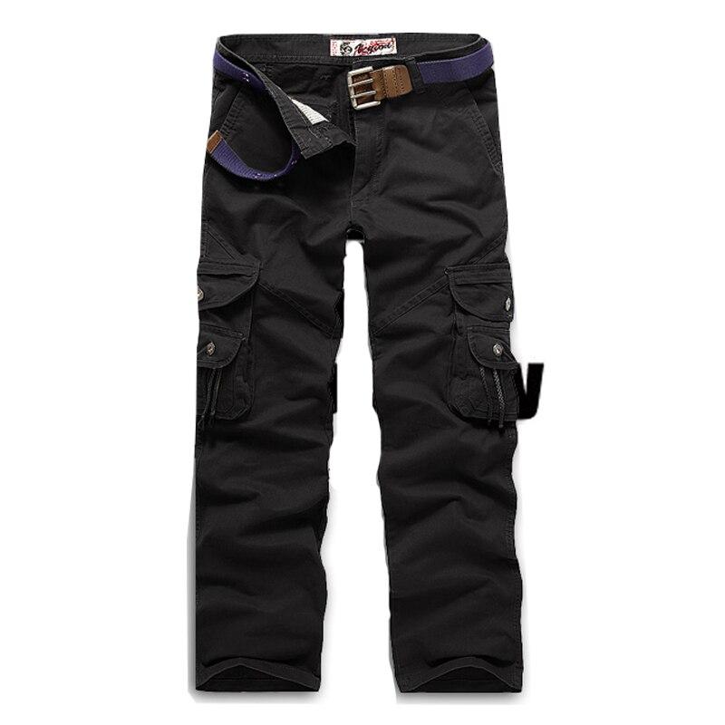Новинка, продвижение, мужские брюки-карго камуфляж, Военный стиль, брюки, армейские брюки, хаки, мульти-комбинезоны с карманами, брюки для мужчин, большие размеры - Цвет: Черный