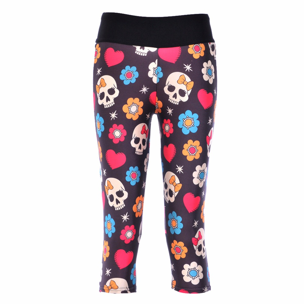 2018 Summer Women With Pocket   Pants   Plus Size Loose Skull Floral Print Trousers For Women Elastic Waist   Pants     Capris   4XL