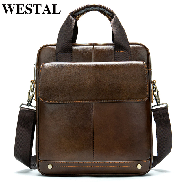WESTAL shoulder bag for men genuine leather male messenger crossbody bags bussiness laptop handbags for document design tote
