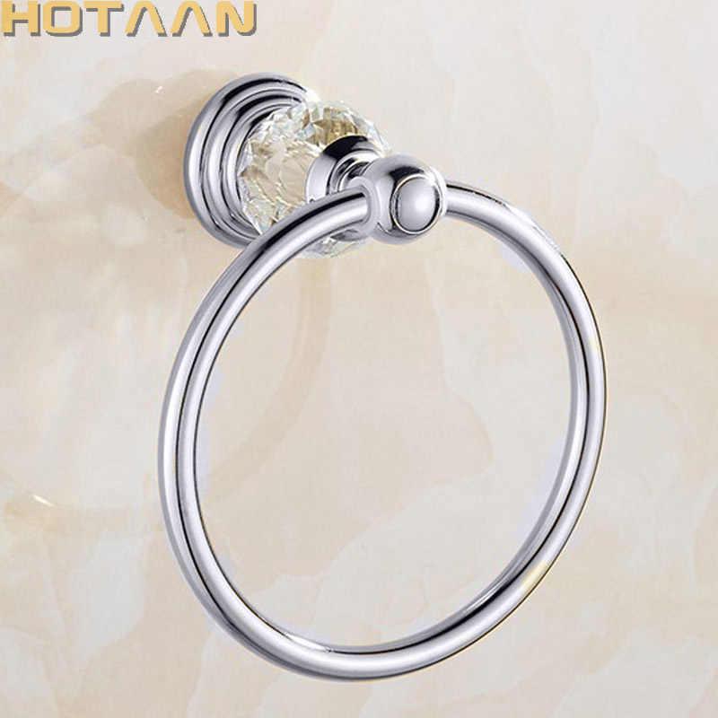Luxus Kristall Handtuch Halter Chrom Handtuch Ring Runde Wand Montiert Handtuch Rack Bar Halter Klassische Bad Zubehör YT-12891-C