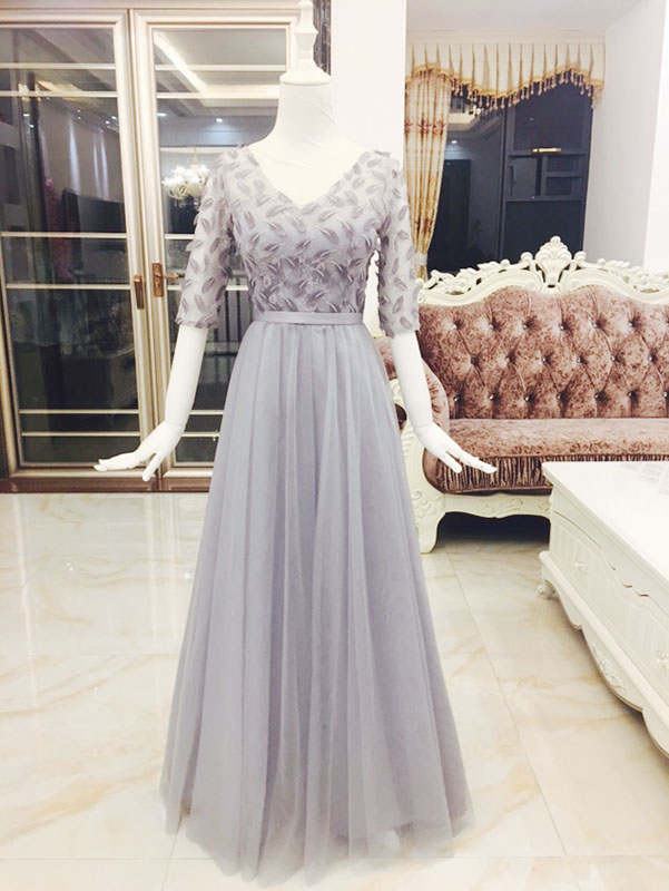 2017 new   Bridesmaid     Dresses   plus size stock cheap under $50 sexy romantic sister simple elegant fashion v neck grey silver long