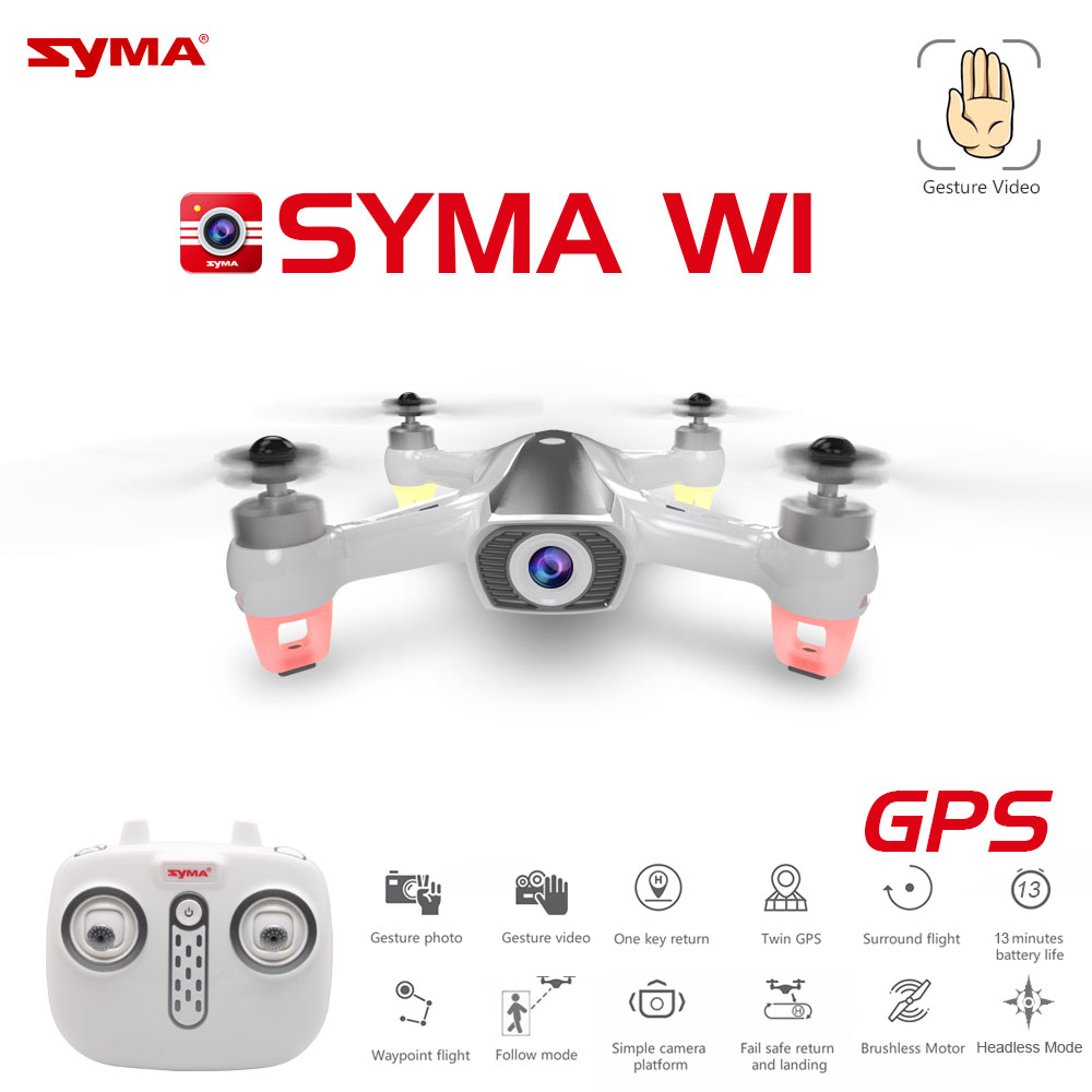 Newest Syma W1 <font><b>Drone</b></font> GPS 5G WiFi FPV with 1080P HD Adjustable Camera Following Me Mode Gestures RC Quadcopter vs F11 SG906 Dron image