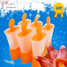 Lolly Mould Tray Pan Kitchen Randomly Color 6 Cell Frozen Cube Pop Mold Popsicle Maker DIY Ice Cream Tools popsicles holder цена и фото