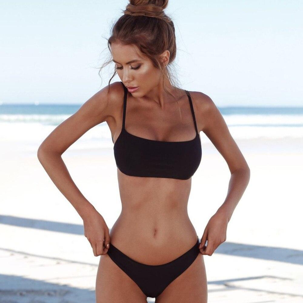 2018 Sexy Bikini Set Push Up Top Vintage Women Swimwear Solid Color Swimsuit Bikini Beach Bathing Suits Swim Wear Costumes rxrxcoco push up swimwear women solid