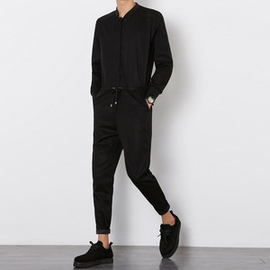 Image 3 - Helisopus 2020 Mens Overalls Rompers With Zipper Harem Bib Pants Male Long Sleeved One Piece Skinny Black Jumpsuit Asian size