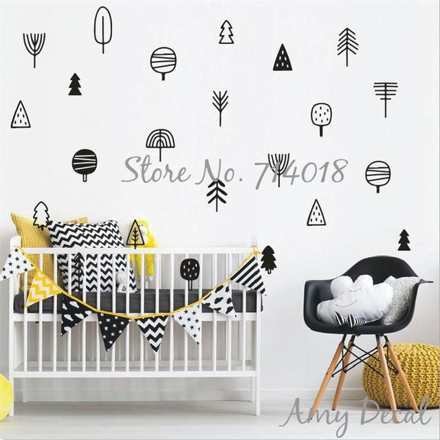 Tree Wall Decals Cute Woodland Nursery Decor Pine Forest Kids Stickers Murals
