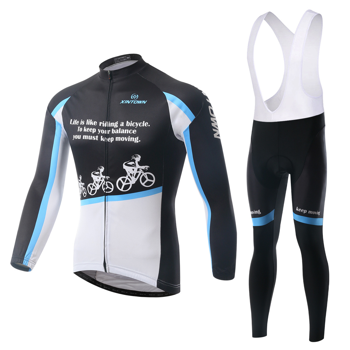XINTOWN snow bike riding jersey strap long-sleeved suit wear bicycle suits fleece wind warm features underwear