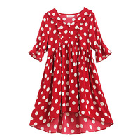 Maternity Dresses Korean Fashion Large Size Clothes for Pregnant Women Polka Dot Irregular Bell Sleeve Pregnancy Dress Summer