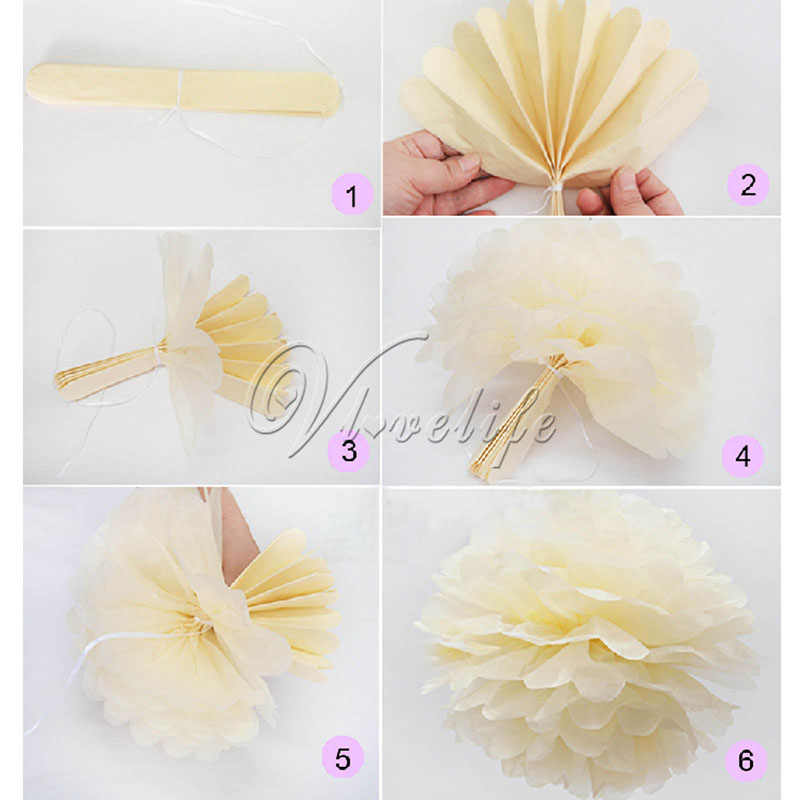 6 8 10 15 Diy Tissue Paper Pom Poms Flower Kissing Ball Props For Wedding Party Festival Paper Pompoms Venue Craft Decor