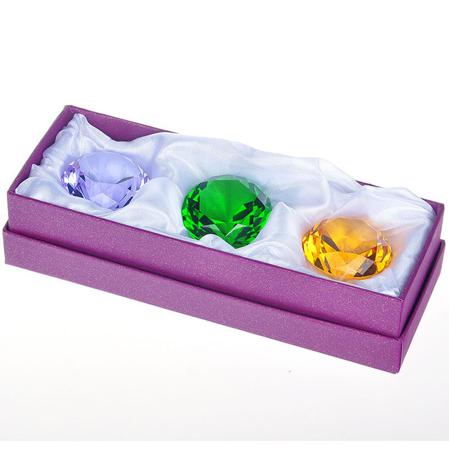 New Arrival Souvenir Gift 3 Color 40mm Crystal Diamond Beautiful Decor Paperweight Feng Shui Crafts Home Decoration