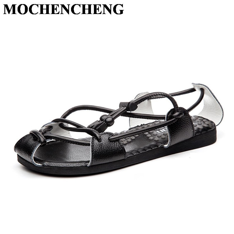 New Men Summer Sandals Genuine Leather Breathable Lace-up Casual Shoes Comfortable Massage Slippers Fashion Trend Rome Sandals