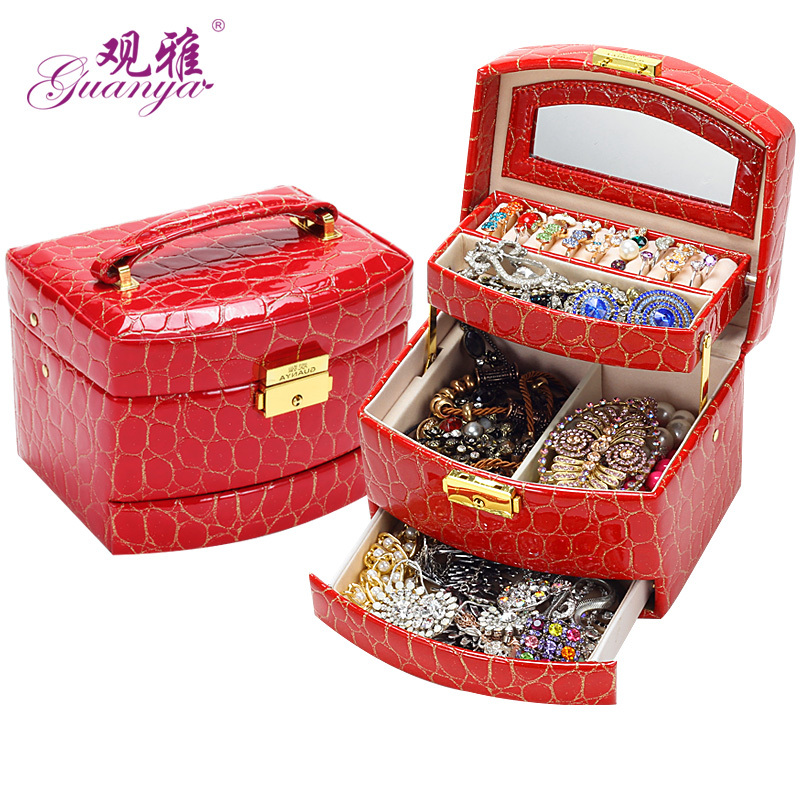 2017 Portable Jewelry Display Box Leather Jewel Organizer New Fashion earrings storage case Many color gift box for girl