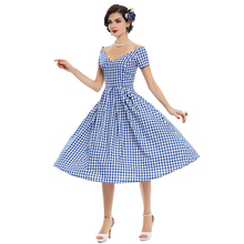 Sisjuly vintage dress 1950s style spring summer rockabilly women party plaid dress 2017 summer elegant female vintage dresses
