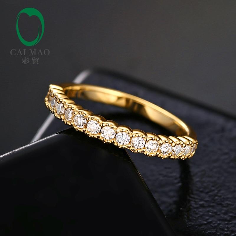Caimao 0.38ct F Color Round Moissanite Milgrain Design 14K Yellow Gold Engagement Wedding Band