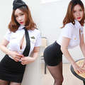 2017 Adultes Déguisement Disfraces Hot Lingerie Sexy Air Hostess Aeromoça Trajes Tentação Uniforme Com Chapéu