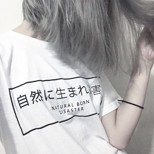 Nature Born Disaster harajuku female fashion t shirt japanese character style tees unisex  casual tumblr tops instagram T shirt