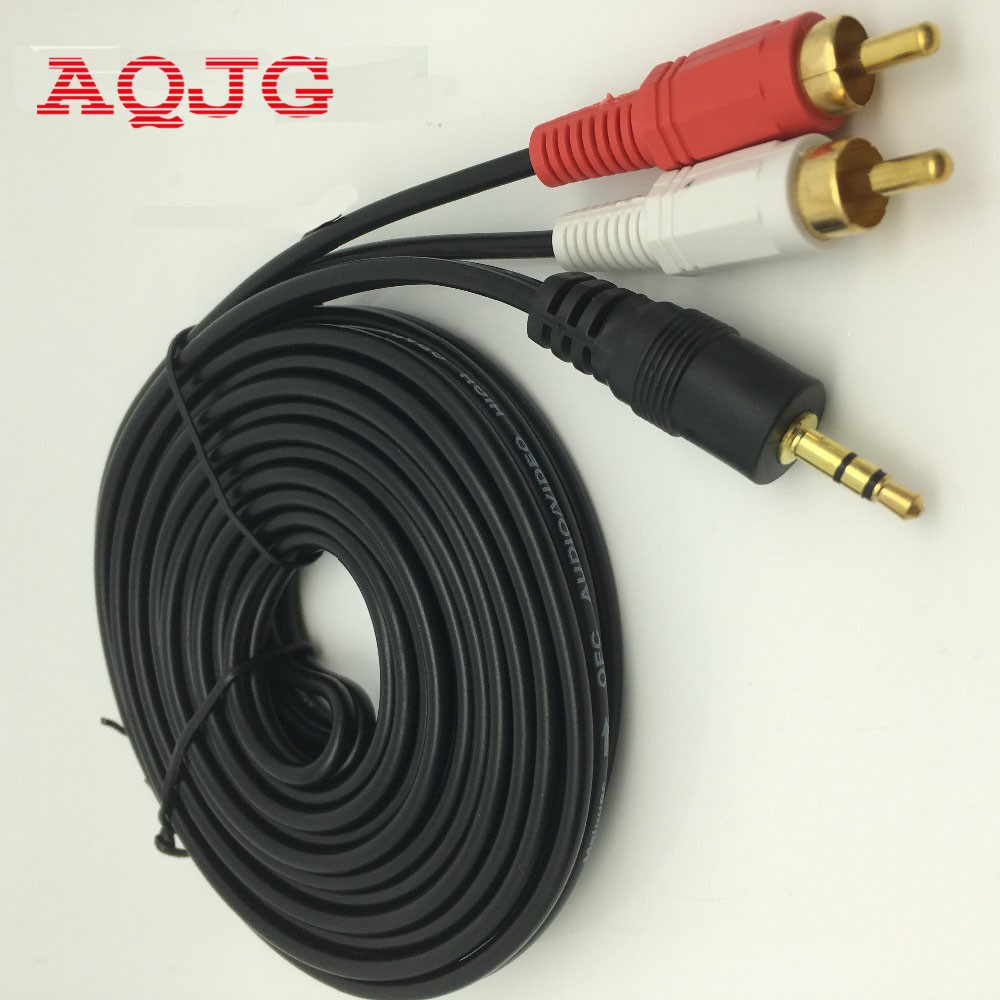 3 5 mm male jack to av 2 rca male stereo music audio cable cord aux for mp3 pod phone tv sound. Black Bedroom Furniture Sets. Home Design Ideas